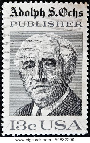 USA - CIRCA 1976 : A stamp printed in the USA shows Adolph S Ochs Portrait circa 1976