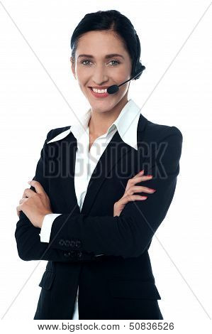 Young Smiling Female Customer Support Staff