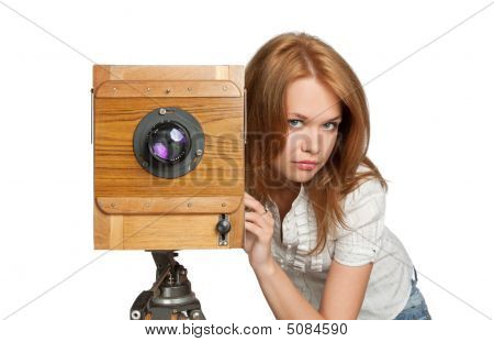 Woman Posing With Vintage Camera