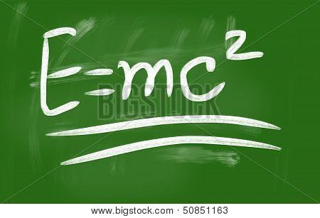 E=mc2 Handwritten With Chalk On A Blackboard