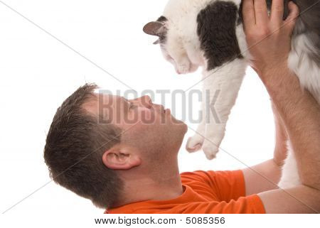 Man Looks Up At Cat Isolated On White
