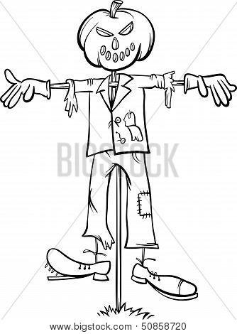 Scarecrow Cartoon For Coloring Book