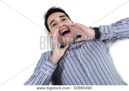 Attractive Young Man Shouting