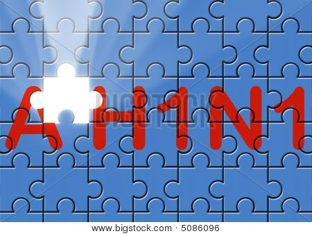 Puzzle With Missing Piece Swine Ah1N1 Text