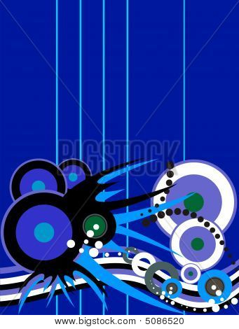 Many circles are on an abstract dark blue background. poster