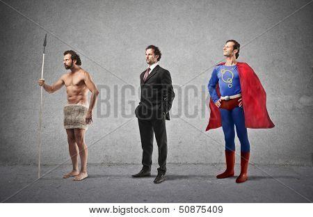 evolução do homem, do homem das cavernas de super herói