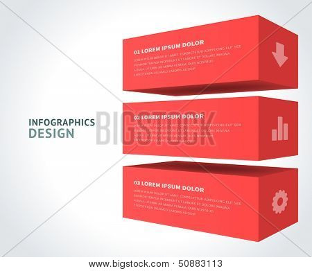 Infographics options design elements. Vector illustration. 3d cubes banner numbers and icons website eps 10.