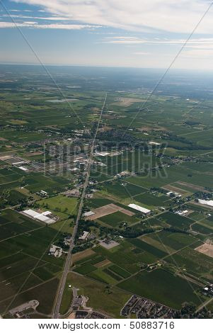 Aerial Of Agricultural Lands And Rural Town Virgil, Ontario
