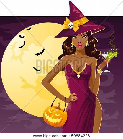 Cute sexy witch on a party