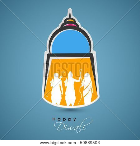 Indian festival Happy Diwali design on a decorative with white silhouette of Hindu mythology Lord Rama with his wife Goddess Sita and brother Laxman.