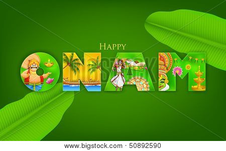 illustration of Onam background showing culture of Kerala poster