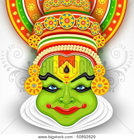 illustration of Colorful Kathakali Face