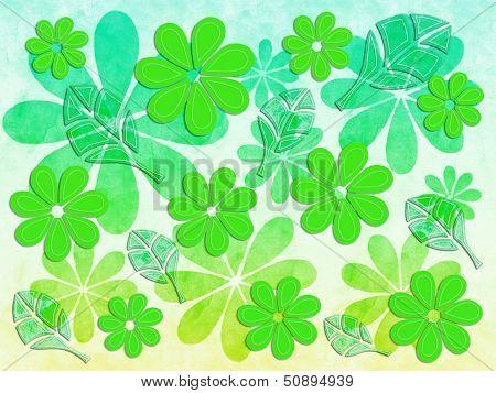 Floral Pattern Kelly Green