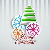 Beautiful Merry Christmas concept with stylize Xmas tree and colorful snowflakes on abstract grey background.  poster