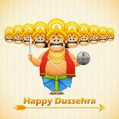 illustration of Ravana with ten heads for Dussehra poster