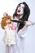 Scary Horror Image of a Bleeding Psychotic Woman With Knife poster