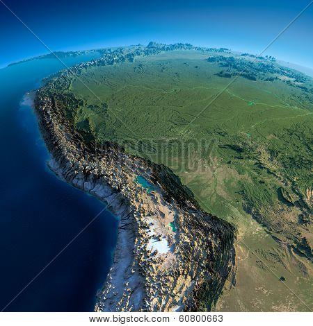 Detailed Earth. Bolivia, Peru, Brazil