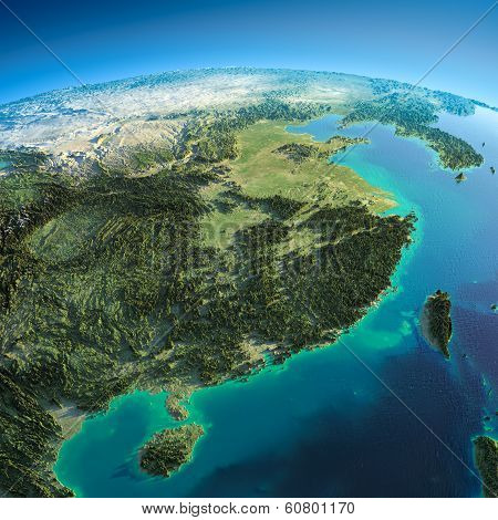 Detailed Earth. Eastern China And Taiwan