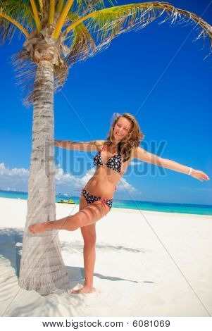 Girl and palm tree