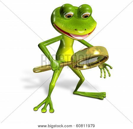 3d illustration merry green frog with magnifying poster