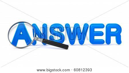 Answer Concept with Magnifying Glass.