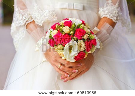 Bride Holding Wedding Bouquet Close Up