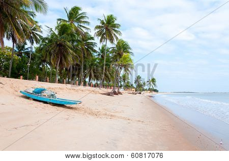 Beach At Low Tide With Boat, Pititinga, Natal (brazil)