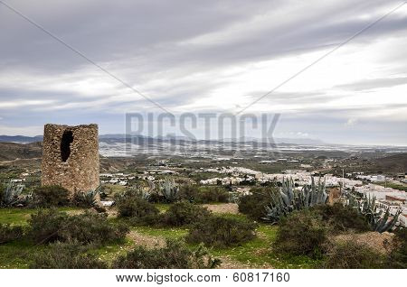 Atalaya Watchtower And Greenhouses In Background, Nijar - Almeria (spain)