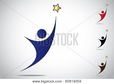 Colorful Person Winning Or Achievement Success Symbol Icon