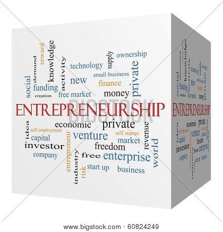 Entrepreneurship 3D Cube Word Cloud Concept