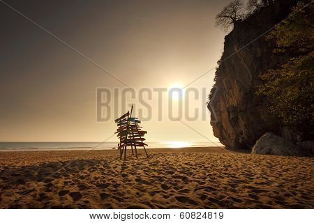 Beach Rock Mountain And Sea In Sunset