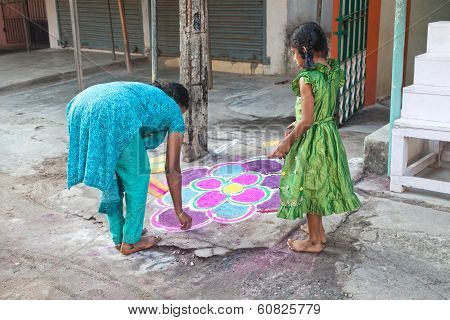 Indian Mother And Daughter Painting Mandala