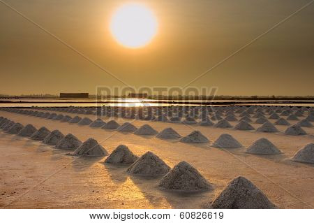 Saline, Salt Farm In Sunset From Thailand
