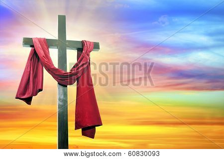 Cross On Sky Background