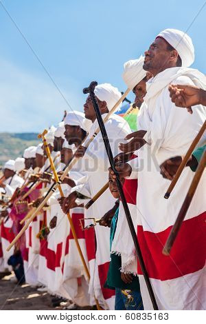 Ethiopian Priests dance during Timkat