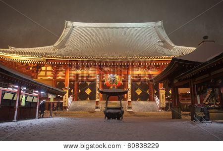 Japan temple , Asakusa Sensoji at snow falling time