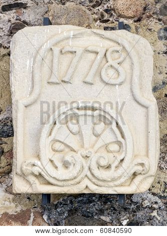 Stone Slab Engraved With The Year 1778. In The Monastery Of Poblet
