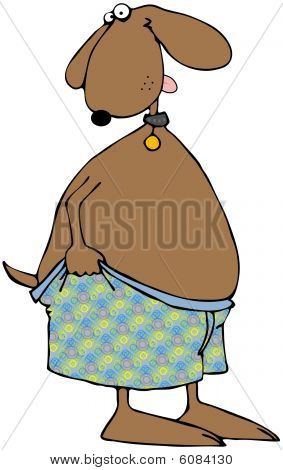 Dog Pulling On His Boxers