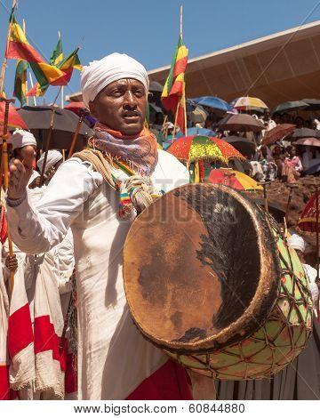 Musician During Timkat Festival in Ethiopia