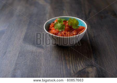 Salsa Sauce On Wood Table
