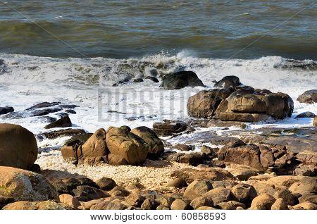 Waves and foam on the rocky coast