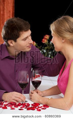 Couple Having Some Red Wine