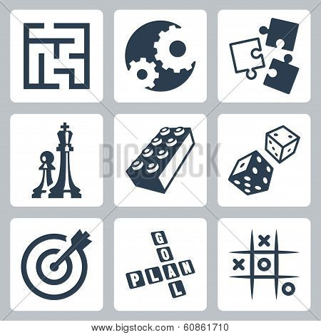 Vector business strategies and development 'game concept' icons set poster