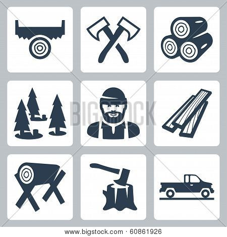 Vector Lumberjack Icons Set