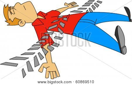 Man with closed eyes laying on ground with tire tread marks across him