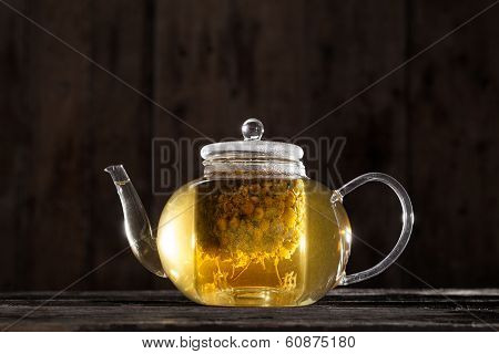 Chamomile Tea In A Clear Teapot