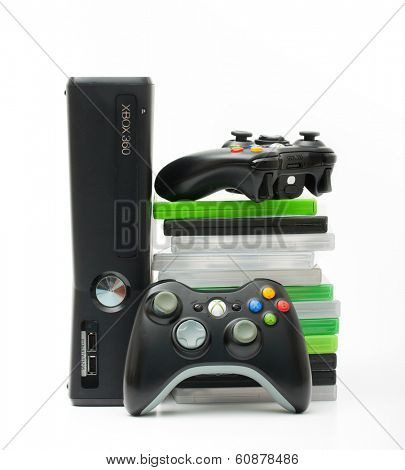 SAINT-PETERSBURG, RUSSIA - March 01, 2014: Photo of Xbox 360.The Xbox 360 is a video game console developed by Microsoft, the best in games and entertainment.