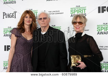 LOS ANGELES - MAR 1:  Laura Dern, Bruce Dern, Andrea Beckett at the Film Independent Spirit Awards at Tent on the Beach on March 1, 2014 in Santa Monica, CA