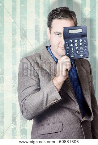 Business Person Hiding Behind Cash Calculator