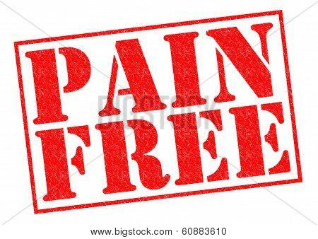 PAIN FREE red Rubber Stamp over a white background. poster